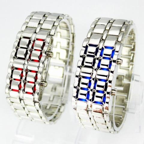 3a021ece8a33 Predám elegantné digitálne LED LAVA Samurai náramkové hodinky z nerezovej  ocele s nastaviteľným náramkom. Hodinky zobrazujú čas - hodiny